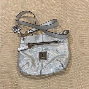 Silver Tignanello pebbled leather crossbody bag.